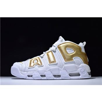 Nike Air More Uptempo White/Metallic Gold Men's Size Shoes
