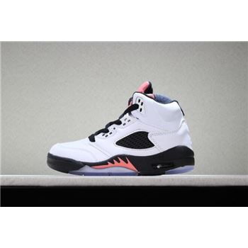 Kid's Air Jordan 5 Retro White/Sunblush-Black Basketball Shoes
